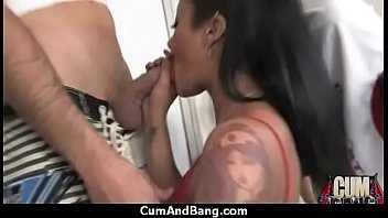 Nasty black girl grouped and facialed 9