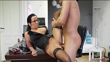 German Female MILF Teacher with Glasses Fuck Student at school