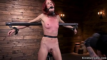 Redhead in pile driver anal fucked with toy