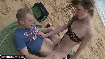 Skinny amateur girl fucked on the beach porn image
