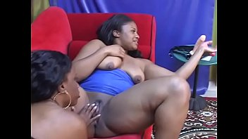 Red couch with black lesbians pussy eating