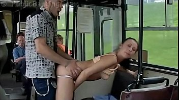 Crazy daring public bus sex action in front of amazed passengers and strangers by a couple with a cute girl and a guy with big dick doing a blowjob and a vaginal intercourse in a local transportation