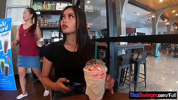 Starbucks coffee date with gorgeous big ass Asian teen girlfriend