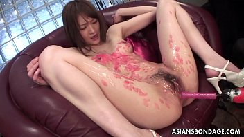 Asian bondage cute - Candle dripped asian slut sucking on cocks and she loves the freakiness