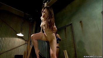 Gagged lesbian slave is anal fucked