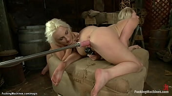 blonde lesbians ride machines and fuck