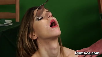 Slutty honey gets sperm load on her face eating all the charge