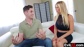Stunning blonde stepmom sucks big cock young stepson