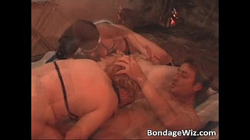 Group sex party on the bed with horny