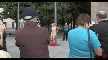 Blonde in red dress public humiliation