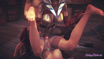 Starwars Hentai Threesome Ahsoka Leia 3D 4K - Lick and suck a dick with cumshot in a mouth and fuck both at same time