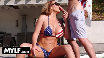 Stepmom's Huge Booty Worshiped and Fucked on 4th Of July
