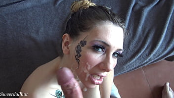 Sweetdollhot, Girl with tattoos, they cum on her face