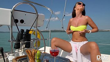 Sexy masturbation solo with Vicky Love fingering her horny pussy on a yacht