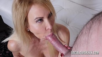 Mature Erica Lauren wraps her lips around a big cock