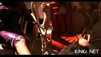 Evil domme chokes and kicks tied up serf in the balls