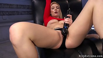 Busty blonde fucks machine and squirts