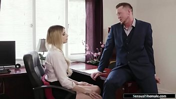 Busty horny tranny analed by office mate