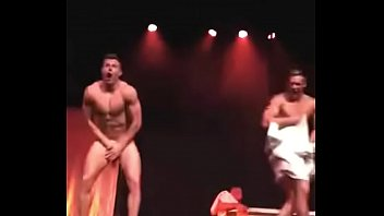 Cocks exposed during towel dance act - Karl Schilg and Michael Measter in Adonis Hollywood Strip Show
