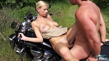 Blonde babe get cum on her big tits when fucked outdoor