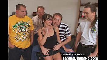 Glasses Slut Gangbang Swallower Party