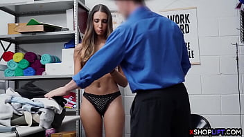 Sexy small tits thief fucked so hard by a security guy