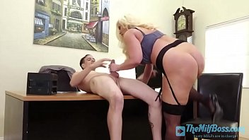 Blonde Milf Jumps on Employee'_s Dick