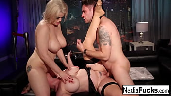 Sexy club goers double team a big dick stud together!