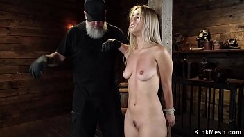 Blonde in extreme bondage is tormented