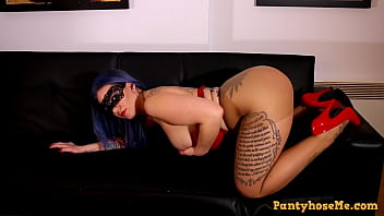 Mistress Julie In A Mask and Pantyhose Showing Her Phat Ass