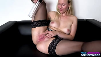 BlondeHexe gets it with a penis pump and cums, German porn actress SOLO