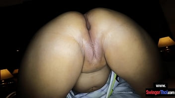 Chubby Thai amateur hottie licks his ass and gets her pussy drilled