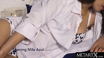 Mila Azul squeezes her huge natural breasts as she masturbates