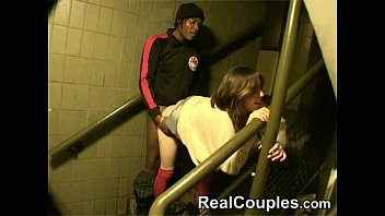 hot couple interracial in stairs Thumb