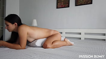 Amateur pillow humping with passionate and beauty porn wife at home – PassionBunny