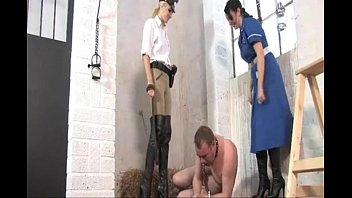 Boot kicking ass Punished by nurse in boots