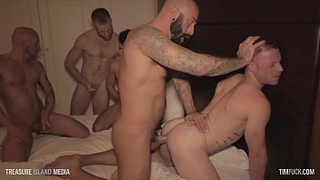 Gay man group sex - Timfuck saxon west 7-man gangbang with cumshots