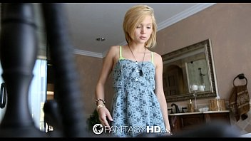 FantasyHD - Petite blonde Dakota Skye shaves her pussy before fuck 8 min