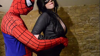 Dress up adult costumes Busty cosplay catwoman takes spiderman web