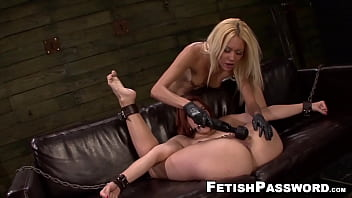 Lesbian choking domination Ginger rose red hammered by plastic dick domina