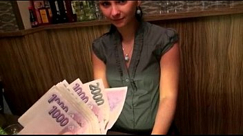 Cute amateur brunette Euro bartender Marie analyzed for cash