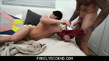 Young Stepson Sex With Hunk Stepdad In His Bed After Falling Asleep On Couch