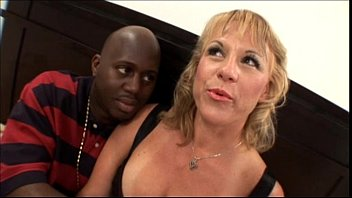 Hot blonde amateur milf with nice tits banging black cock in mom sex video