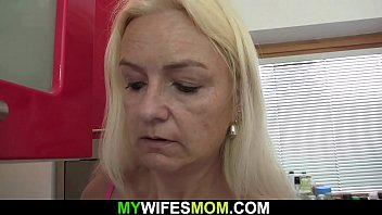 Old blonde mother-in-law swallows his big dick