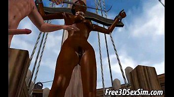Hot 3D ebony babe gets double teamed by pirates