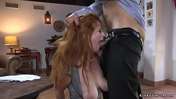 Natural huge tits redhead beauty throat and ass fucked in rope bondage