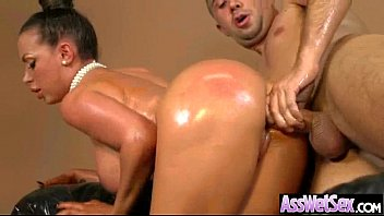 Hard Anal Sex Tape With Oiled Big Booty Wild Girl video-19