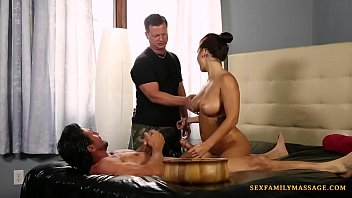 Cute masseuse fucked by Tommy Gunn and his buddy