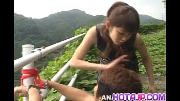 Tomoka Matsunami fucks man in mouth and ass with strap on outdoor 10 min