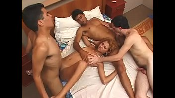 """Three bisexual males and hot bitch fuck on bed then they cum all over her <span class=""""duration"""">28 min</span>"""